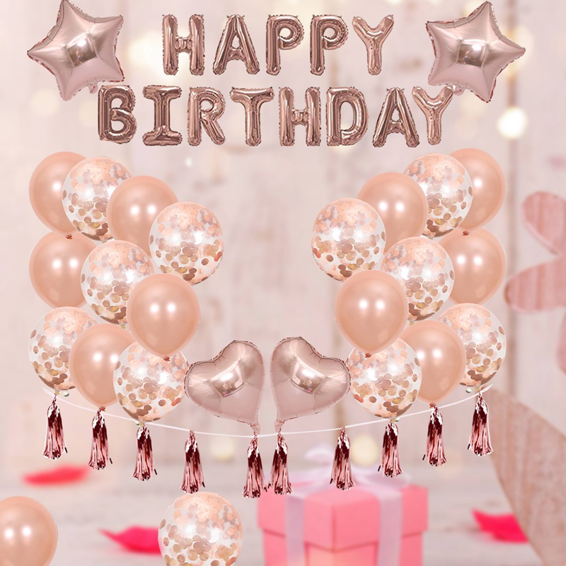 1 SetHappy Birthday Rose Gold Letter Foil Balloon Adult Birthday Party Decoration Confetti Rain Curtain Globos Anniversary-5