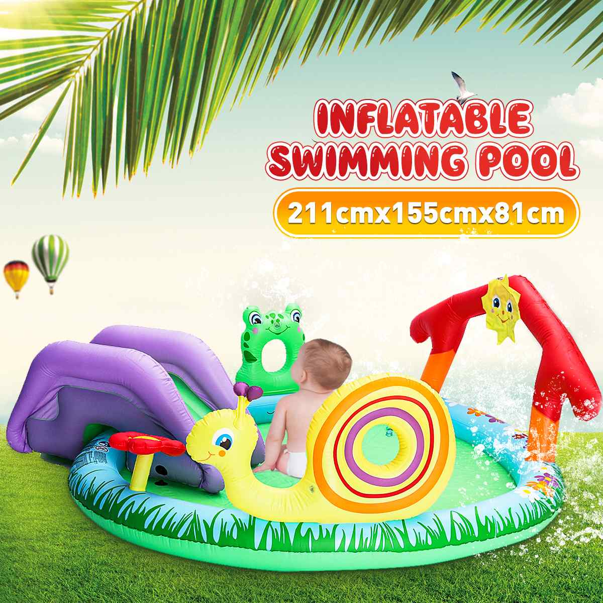 Water Spray Outdoor Garden Fun Toy Pool Surfboard Summer Water Games Toy Inflatable Baby Swimming Paddling Pool Slide Toys