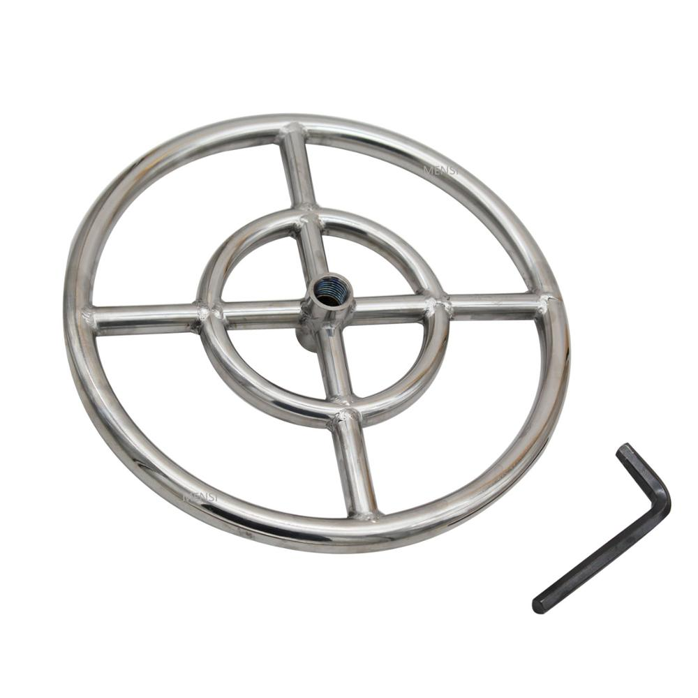 MENSI Propane & Natural Gas Fireplace, Fire Pit 12 Inch Burner Assembly Part 304 Stainless Steel Fire Ring Burner