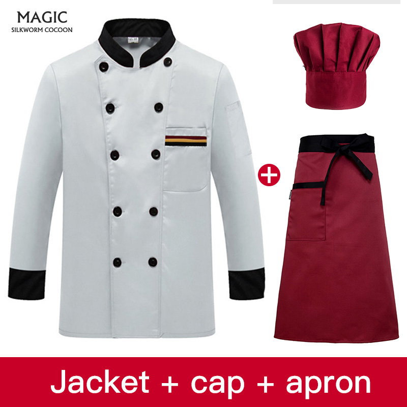 Long Sleeved Double Breasted Chef Jackets Restaurant Uniforms Shirts Hotel Catering Kitchen Bakery Waiter Workwear Hotel Uniform
