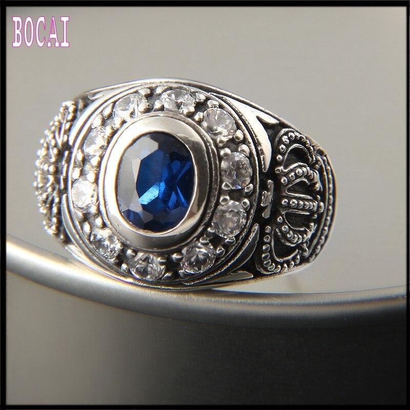 Nouveau S925 bague en argent sterling exquis couronne anneau incrusté zircon bijoux personnalité exagérée bague en argent pour hommes et femmes