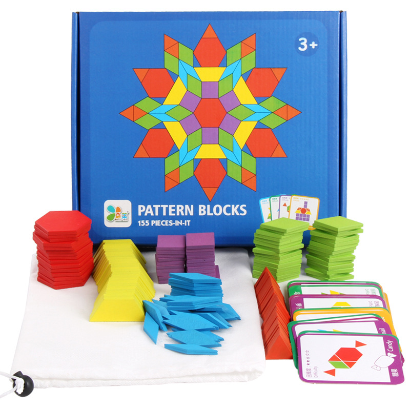 155Pcs Creative Shape Puzzles Board Set Montessori Woode Materials Hand Brain Training Early Learning Thinking Toy For Baby Gift