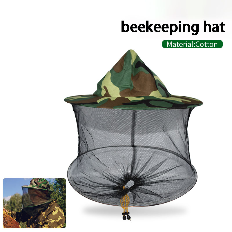 Camouflage Beekeeping Fishing Hat Mosquito Net Caps Mesh Beekeeper Protective Cap Mask Outdoor Anti Bee Neck Veil Head Cover