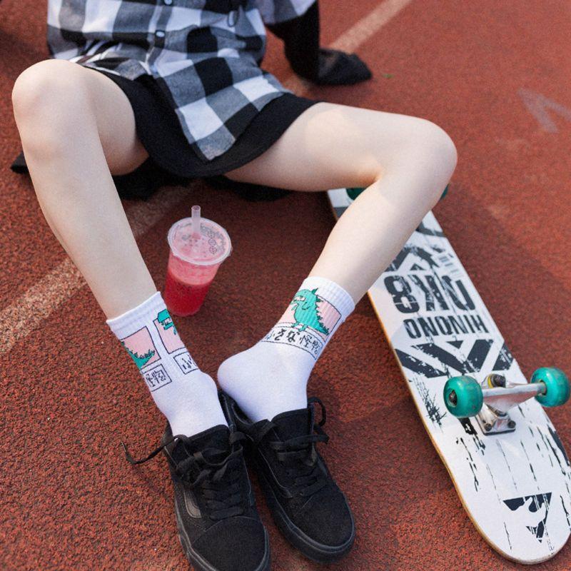 Women Girls Hip Hop Long Cotton Socks Funny Cartoon Dinosaur Japanese Characters