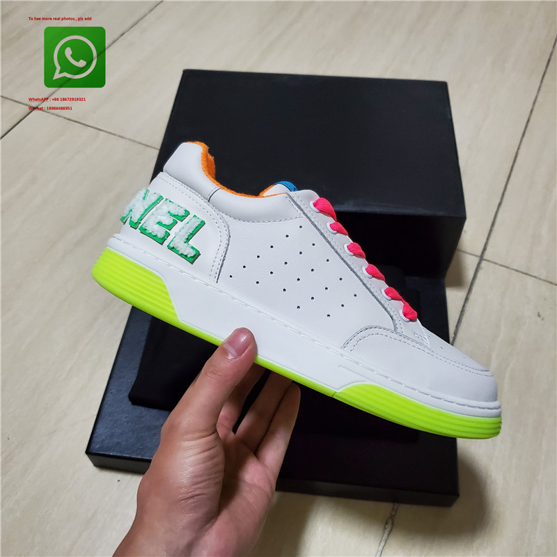 2020 New Women Shoes Hottest High Quality Genuine Leather Colorful Lace Double Color TPU  Double Sole  Women Casual Shoes 35-41