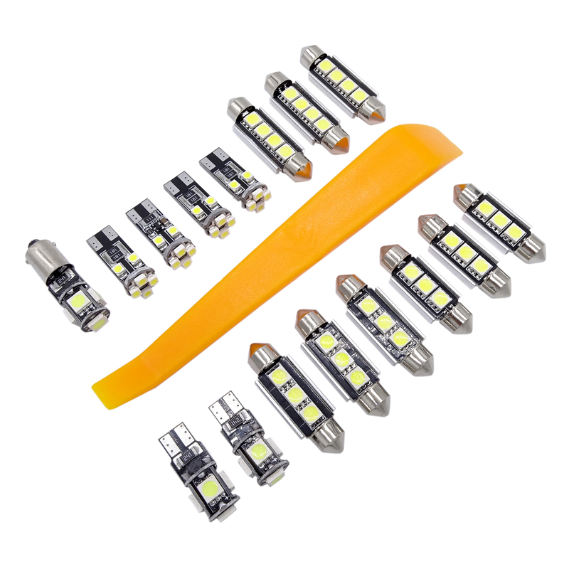 16 Pcs White Car LED Light Canbus Interior Lamp Package Front Dome Reading Light Decorate Light for VW Passat B6 2006-2010
