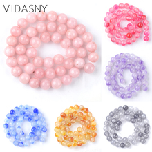 Natural Stones Pink Blue Purple Grey Jades Beads For Jewelry