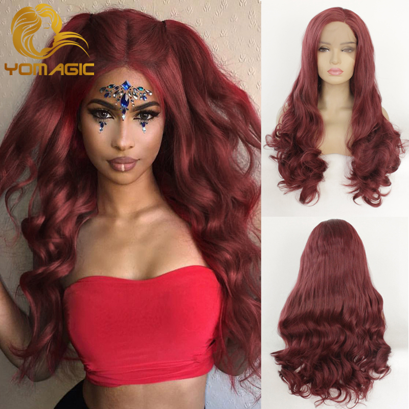 Yomagic Red 99j Color Synthetic Hair Lace Front Wig With Natural Hairline Heat Resistant Fiber Hair Glueless Synthetic Lace Wigs