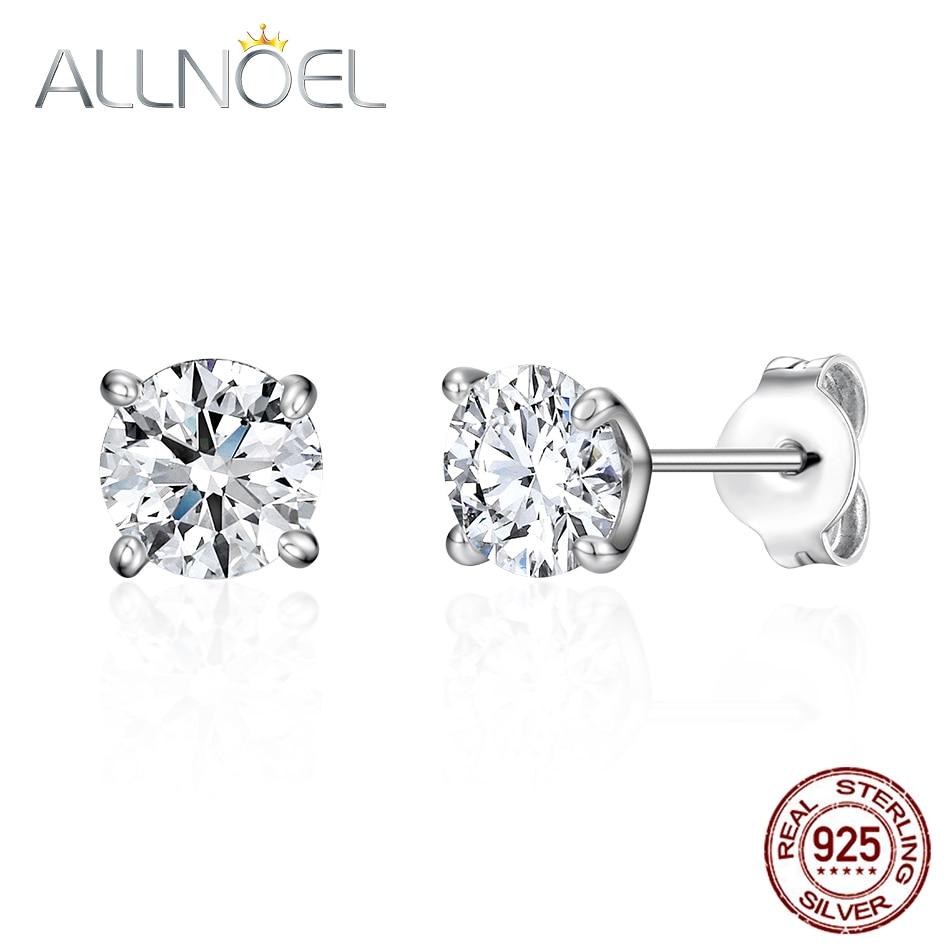 ALLNOEL 925 Sterling Silver Earrings For Women 5A White Zirconium Diamond Stud Earrings Platinum Engagement Wedding Fine Jewelry