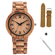 Nature Full Bamboo Watch and Strap Set Simple Wood Quartz Watches for Male Female Handmade Wooden Clock