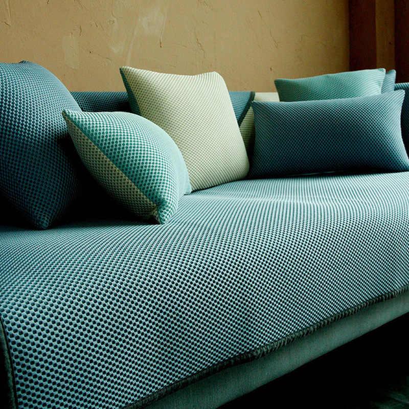 Canapés respirants housse canapé coussin été canapé couvre pour salon glace soie anti-dérapant Cool coussin taie d'oreiller et oreiller
