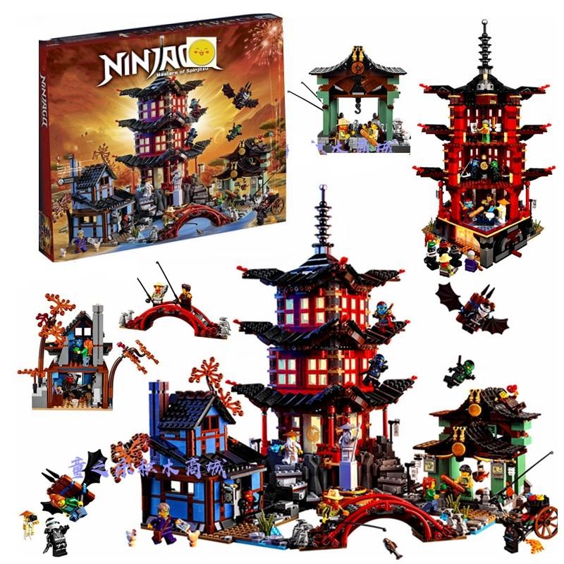 737pcs Diy Ninja Temple Of Airjitzu Spinjitzu Building Blocks Compatible Ninjagoed Lepined Sets Toys For Kids Bricks