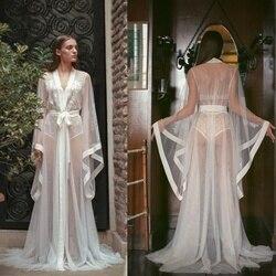 2019 à manches longues Robe de nuit sur mesure Transparent Sexy peignoirs femmes vêtements de nuit