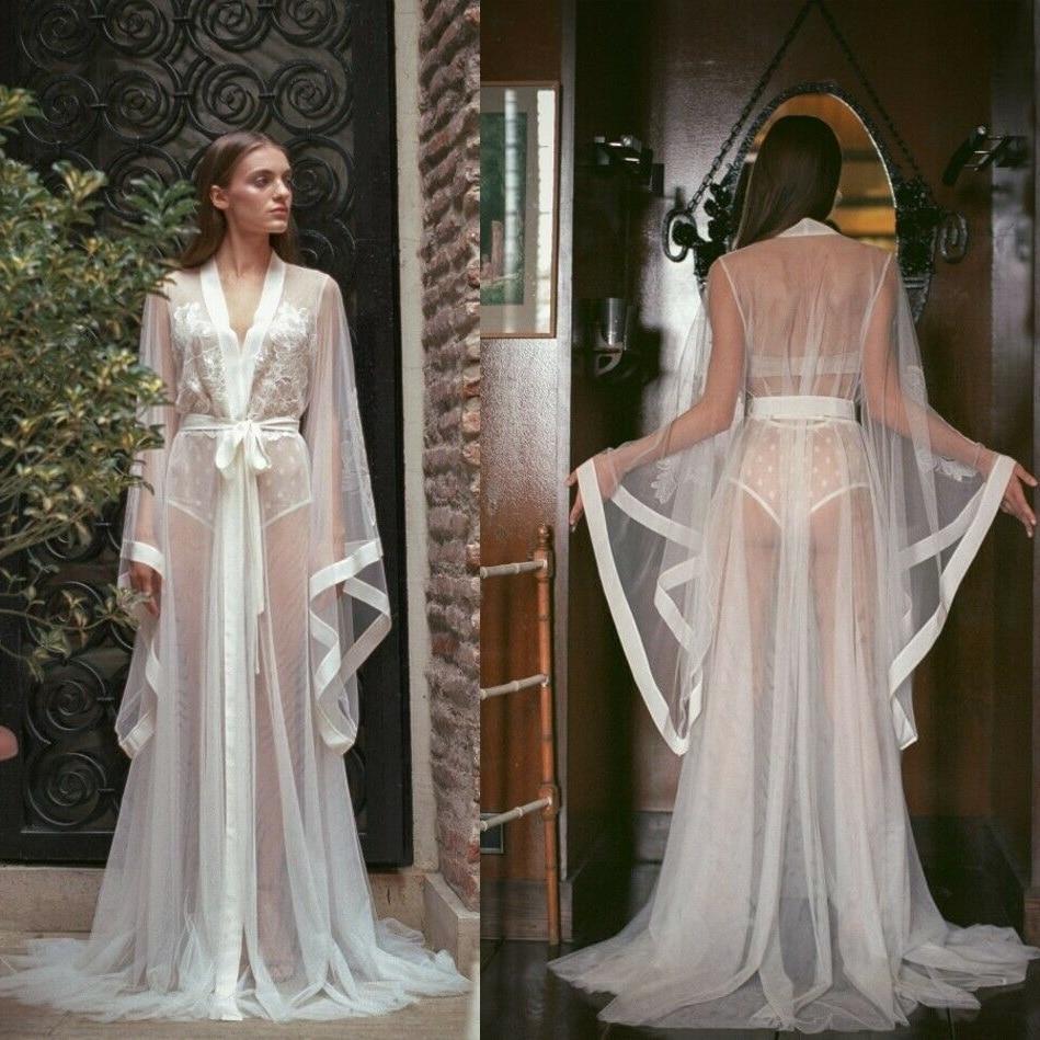 2019 Long Sleeve Night Robe Custom Made Transparent Sexy Bathrobes Women Sleepwear