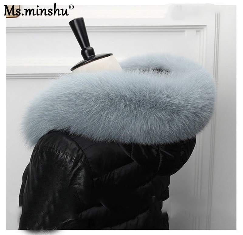Image 2 - Ms.MinShu Fox Fur Collar For Hood Natural Fox Fur Hood Trim Scarf Big Fur Collar 100% Real Fox Fur Collar Trim Custom Made-in Women's Scarves from Apparel Accessories on AliExpress