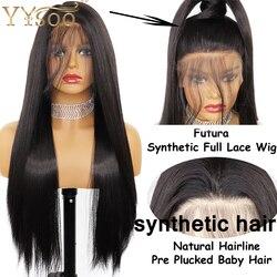 Pelucas de encaje sintético YYsoo Long #2 para mujeres, peluca negra sedosa recta sin pegamento, peluca de pelo Natural, peluca atada a mano completa, pelo de bebé