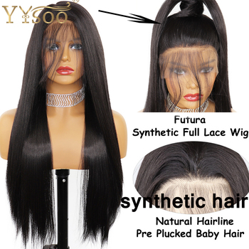 цена на YYsoo Long #2 Synthetic Full Lace Wigs For Women Silky Straight Futura Glueless Black Wig Natural Hairline Full Hand Tied Wig