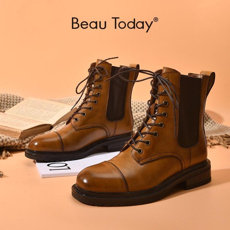 BeauToday/женские ботильоны; Обувь из натуральной коровьей кожи с квадратным носком; Модные эластичные женские ботинки на шнуровке; 04040 ручной работы|Полусапожки|   | АлиЭкспресс