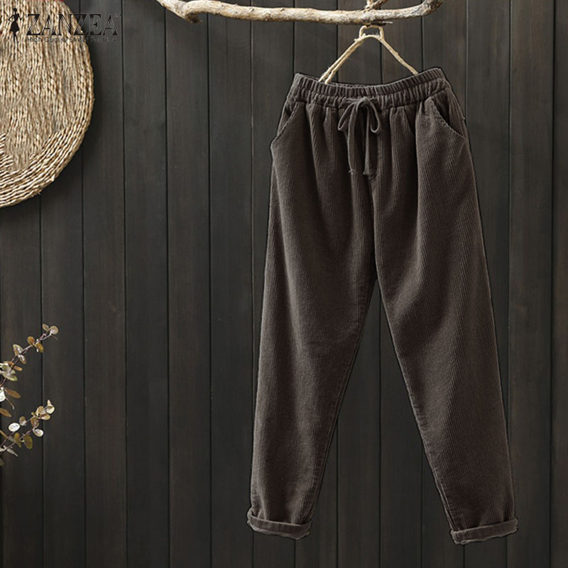 ZANZEA Autumn Vintage Corduroy Pants Trousers Women Elastic Elastic Solid Harem Pants Plus Size Female Turnip Palazzo Pantalon