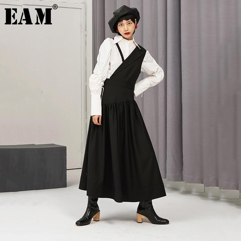 [EAM] Women Black Pleated Split Joint Dress New Asymmetrical Collar Sleeveless Loose Fit Fashion Tide Spring Autumn 2020 1N375