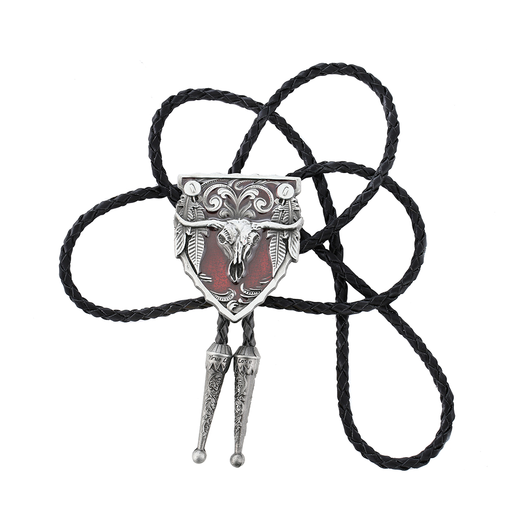 Western Fashion Leather Rope Zinc Alloy Bolo Ties for Men New American Bull Head Necktie Pendants Jewelry