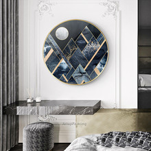 Modern abstract Geometric oil painting on canvas acrylic navy wall art picture for Living room decoration maison