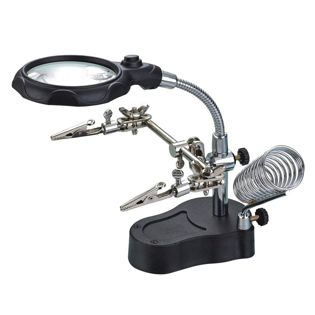 Welding Magnifying Glass LED Light 3.5X 12X Lens Auxiliary Clip Loupe Desktop Magnifier Soldering Repair Tool Rotatable