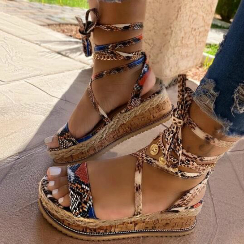 Summer Women Snake Sandals Platform Heels Cross Strap Ankle Lace Peep Toe 2020 Fashion Beach Party Ladies Shoes Zapatos De Mujer