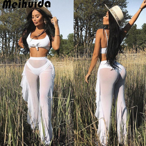 2019 Women Beach Cover up Swimwear Beach Pants Sheer See-through Transparent Trouser Ruffle Female Mesh High Waist Swim Bottoms 1