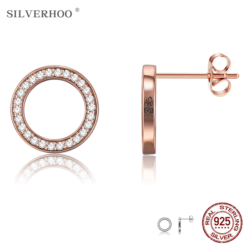 SILVERHOO 925 Sterling Silver Earrings Unisex Circle Round Stud Earrings With Clear CZ Jewelry Romantic Valentine's Day Gift