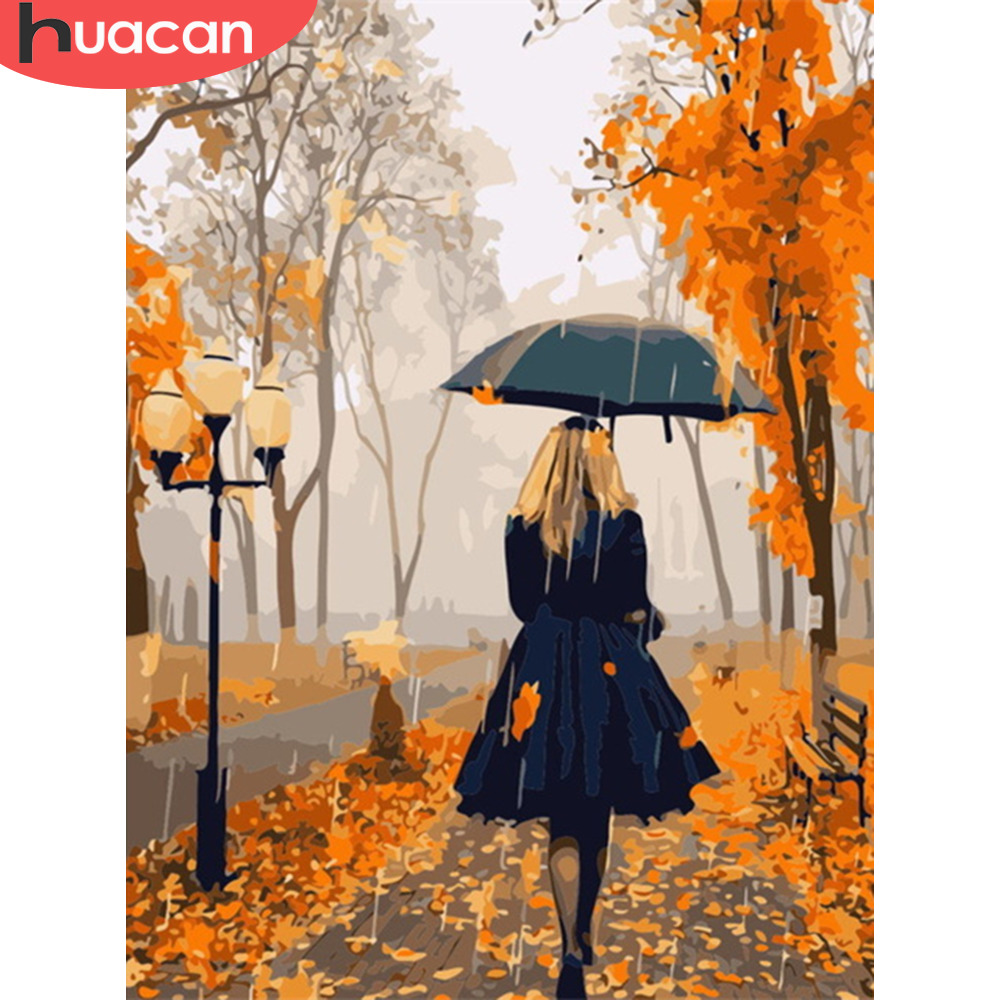 HUACAN Painting By Numbers Girl Kits Drawing Canvas HandPainted Figure Home Decor DIY Oil Pictures By Numbers Autumn