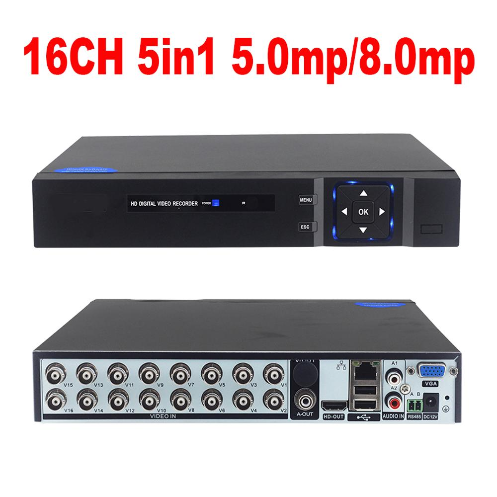DVR 16CH 8CH 4CH CCTV Video Recorder For CVBS AHD Camera Analog Camera IP Camera Onvif P2P 5.0MP 8.0MP Video Surveillance DVR Re