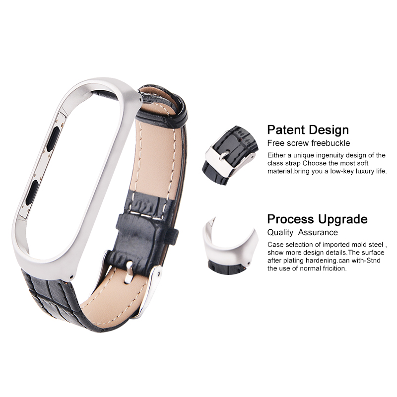 Hangrui Leather strap For Mi Band 4 3 Stainless steel Case For Xiaomi Band 4 NFC Global Wristbands For Miband 3 bracelet in Smart Accessories from Consumer Electronics