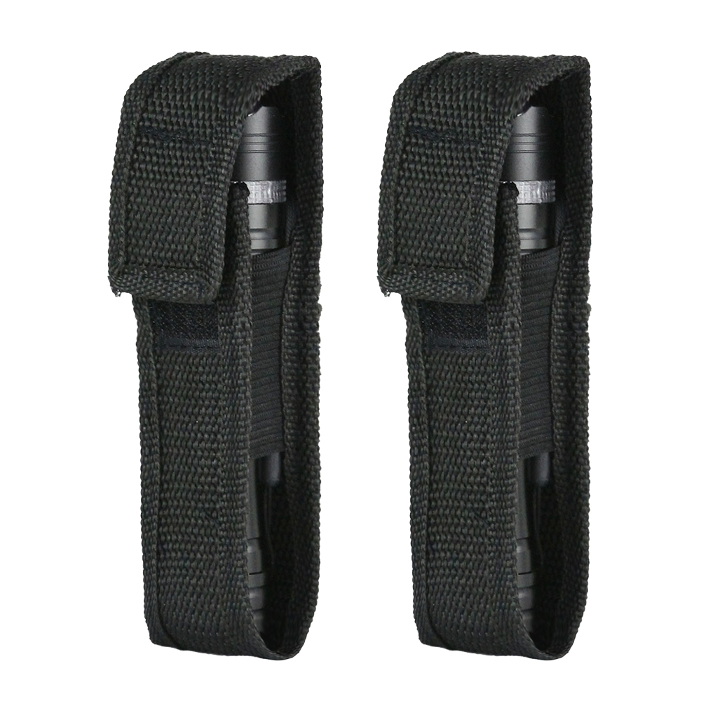 2Pcs Outdoor Nylon Flashlight Pouch Torch Holster Portable Utility Bag Multi-function Case For Hunting Camping  Climbing Bags