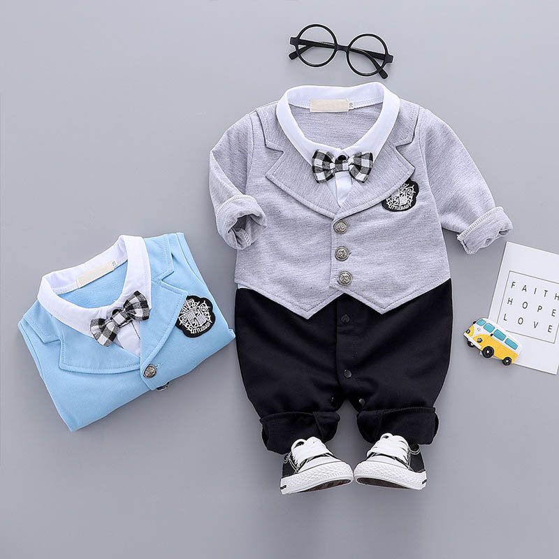 Newborn Kid Baby Boy Infant Outfits Set Child Gentleman Jumpsuit Romper Bodysuit