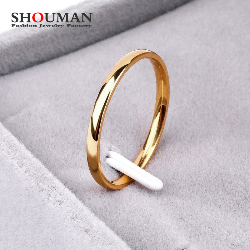 SHOUMAN 2020 2mm Thin Rose Gold Anti Allergy Smooth Simple Titanium Steel Wedding Rings for Women  Valentine's Day Present