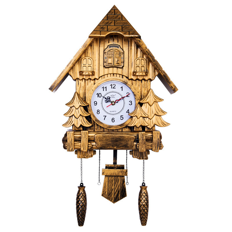 63*37cm Fashion Living Room Bedroom Wall Clock Modern Brief Hourly Broadcast Time Cuckoo Clock European Retro Alarm Clock HW125