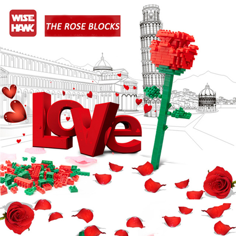 Image 3 - Valentines Day present Sexy rose mini building blocks Full of love Courtship birthday gift splice brick Assembly Toy CrystalBlocks   -