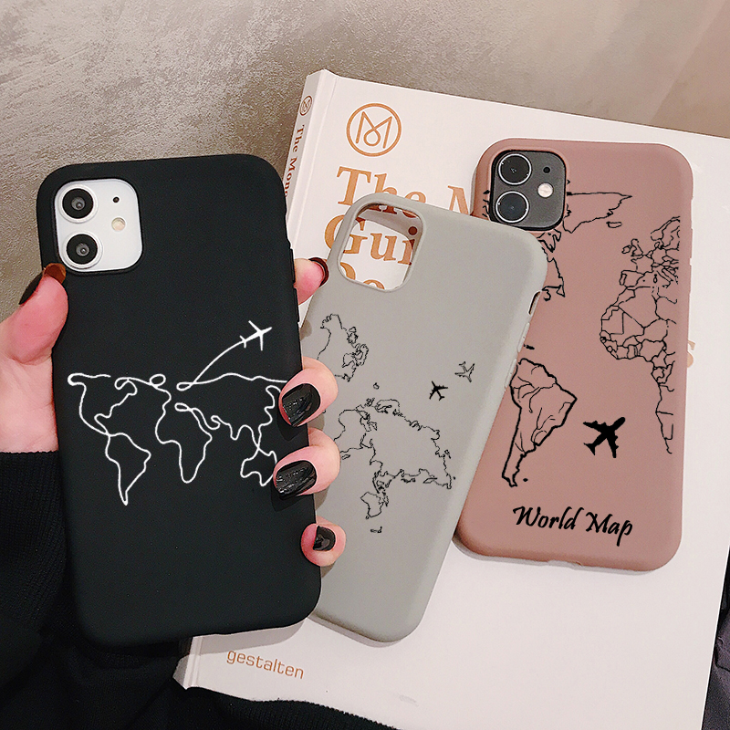 World Map Travel Phone Case For Huawei P40 P30 P20 P10 Pro Lite Plus Frosted Silicone Cases Soft Back Cover