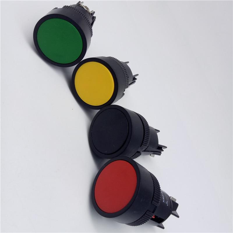 Blanco Interruptor de bot/ón de bloqueo de cierre autom/ático 19mm 12V Control de encendido//apagado LED de cierre 1NO1NC Interruptor de bot/ón alto al ras del metal negro Shell