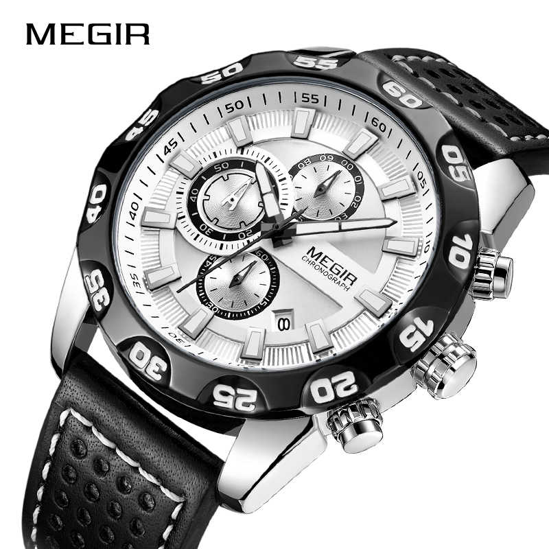 Nouveau MEGIR mode grand cadran chronographe hommes Sport horloge Top marque de luxe analogique Quartz Date montres Relogio Masculino 2019