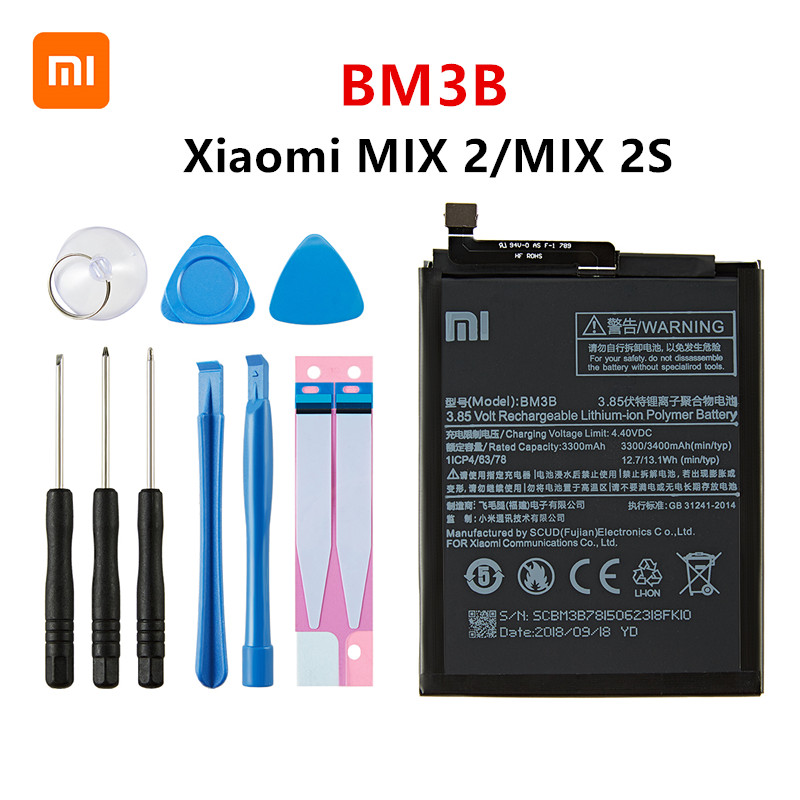 Xiao <font><b>mi</b></font> 100% Orginal BM3B 3300mAh <font><b>Battery</b></font> For Xiaomi <font><b>Mi</b></font> <font><b>MIX</b></font> 2 /<font><b>MIX</b></font> <font><b>2S</b></font> BM3B High Quality Phone Replacement <font><b>Batteries</b></font> +Tools image