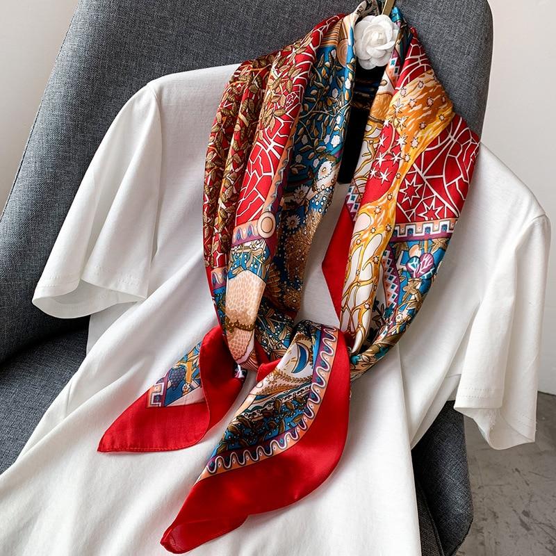 Fashion Elegant Designs Silk Satin Feel Ladies Small Square Head Neck Scarf 168