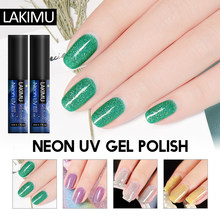 Lakimu Glitter Neon Gel Nail Polish UV Nail Gel Murni Warna Abadi Gel Varnish Rendam Off Manicure Lacquer Perlu Top dan Base Coat(China)