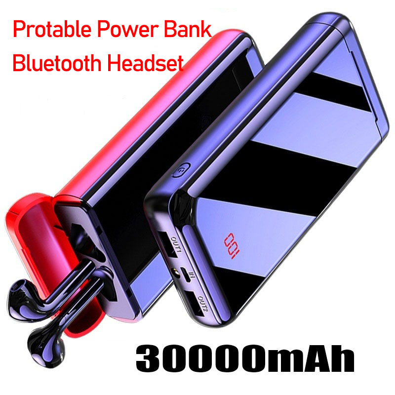 Bluetooth Headset Power Bank 30000mAh Powerbank External Battery Portable Fast Charger For All Smartphone Iphone Charger Bank