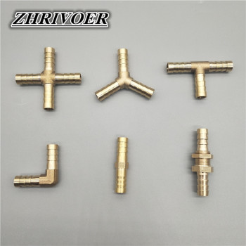 Brass Barb Pipe Fitting 2 3 4 way brass connector For 4mm 5mm 6mm 8mm 10mm 12mm 16mm 19mm hose copper Pagoda Water Tube Fittings image