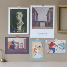 Painting-Card Nordic Decorative Background Wall-Sticker Retro Diy Ins 5-Sheets Photographic-Props
