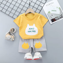 Summer Childrens Kids Suit Sleeved T-shirt Shorts Cotton Boys Girls Clothes Shirt 1-5 Years Old Baby Two-piece Unisex Casual