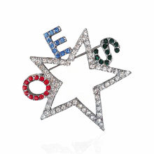 Dubbele Neus Custom Mode Metalen Crystal Rhinestone Volgorde Van Eastern Star Oes Pin Broche Sieraden