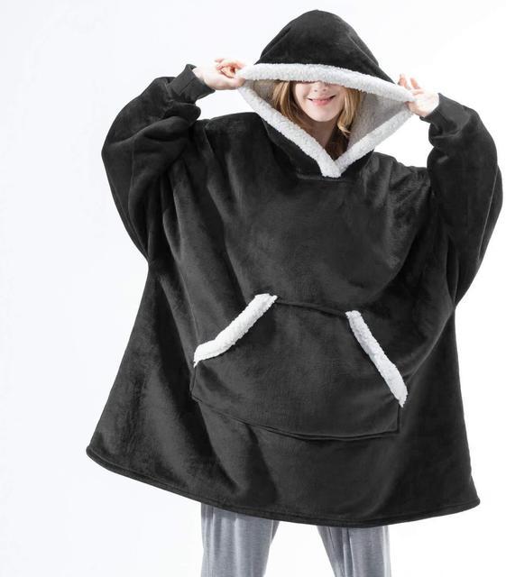 Oversized Hoodie Blanket With Sleeves Sweatshirt Plaid Winter Fleece Hoody Women Pocket Female Hooded Sweat Oversize Femme 2